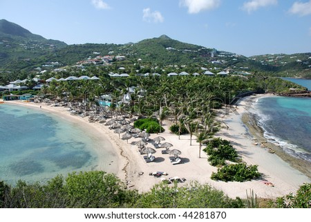 Guanahani Beach on Grand Case Bay in St Barts - stock photo