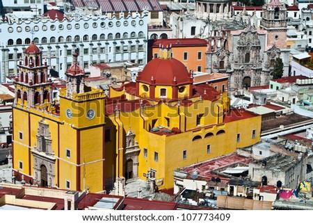 GUANAJUATO, GUANAJUATO/MEXICO - FEBRUARY 19: Guanajuato World Heritage Site, historic city view of 16th century buildings and houses of vivid colors shown on February 19, 2010 in Guanajuato, Mexico. - stock photo