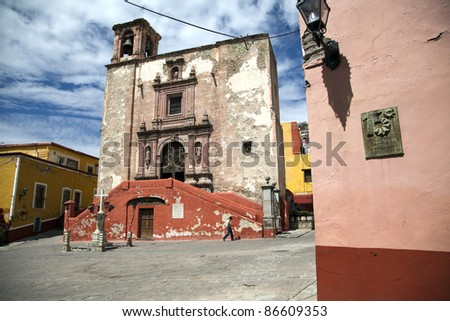 GUANAJUATO, MEXICO - MARCH 16: Square and Church of San Roque in Guanajuato on March 16, 2010.Guanajuato is a picturesque and historic city, is located in central Mexico. - stock photo