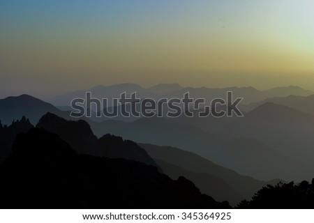 Guangmingding peak of Huangshan mountain, China. - stock photo