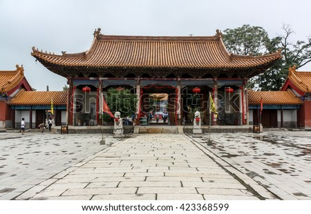 Guangren Temple , Xian, Shanxi province, China,The only Tibetan Buddhist temple in Xian was built In 1703 A D ,The qing dynasty - stock photo
