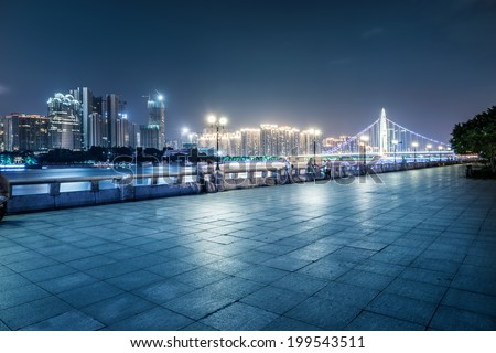 Guangzhou bridge at night in China - stock photo