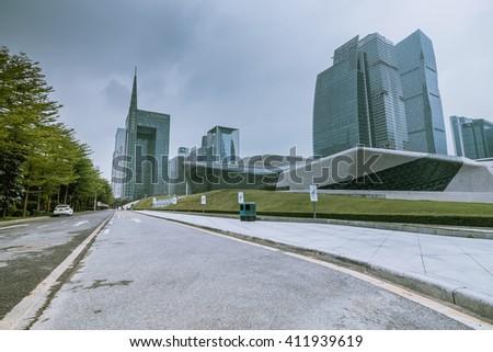 GUANGZHOU, CHINA - APR 8.:Modern skyscrapers in Guangzhou on Apr 8, 2016. Guangzhou is one of the major economic cities in China - stock photo