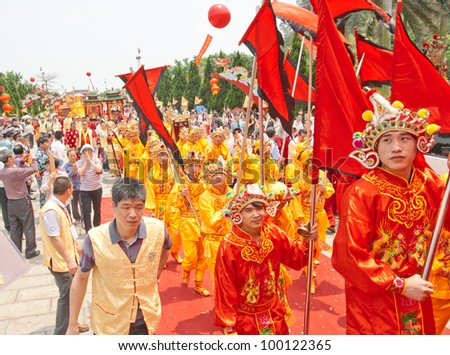 GUANGZHOU, CHINA  - APR 13: Prayer ceremony on Apr 13, 2012 in Mazu Culture Festival. This is China's traditional festivals, Held on the Mar 21 lunar each year, Pray the sea god bless people.