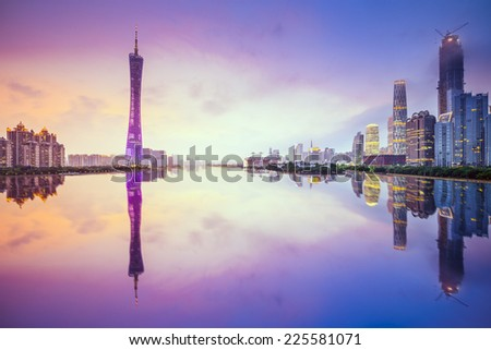 Guangzhou, China city skyline on the Pearl River. - stock photo