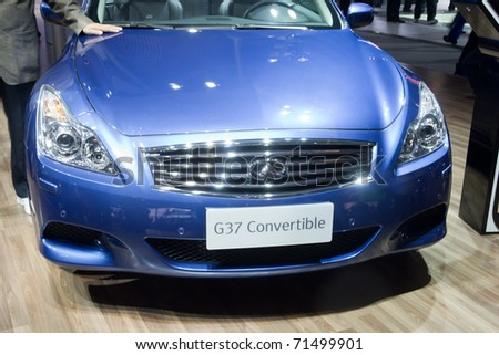 GUANGZHOU, CHINA - DEC 27: G37 Convertible car on display at the 8th China international automobile exhibition. on December 27, 2010 in Guangzhou China.