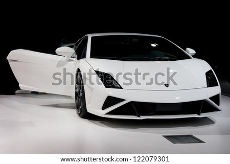 GUANGZHOU, CHINA - DEC 1:LAMBORGHINI Gallardo LP560-4 car on display at the 10th China(Guangzhou) International Automobile Exhibition. on Dec 1, 2012 in Guangzhou China. - stock photo