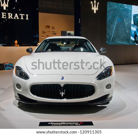GUANGZHOU, CHINA - DEC 1:MASERATI  GranTurismo S car on display at the 10th China(Guangzhou) International Automobile Exhibition. on Dec 1, 2012 in Guangzhou China. - stock photo