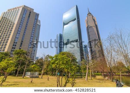 GUANGZHOU, CHINA - FEB 20.:Modern skyscrapers in Guangzhou on Feb 20, 2016. Guangzhou is one of the major economic cities in China - stock photo