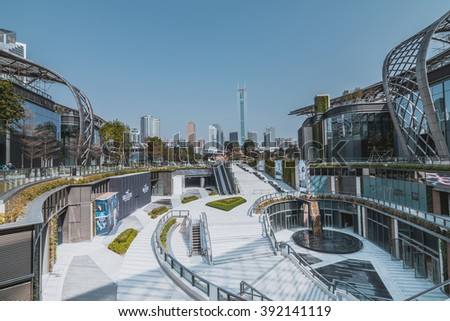 GUANGZHOU, CHINA - FEB 20.:Parc Centra in Guangzhou on Feb 20, 2016. This is a large shopping center. - stock photo