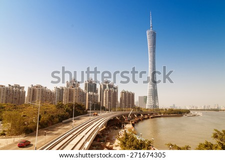 GUANGZHOU, CHINA - JAN 2. The Guangzhou Tower (600 m) on Jan. 2, 2015 in Guangzhou. located at new city axis intersection - stock photo
