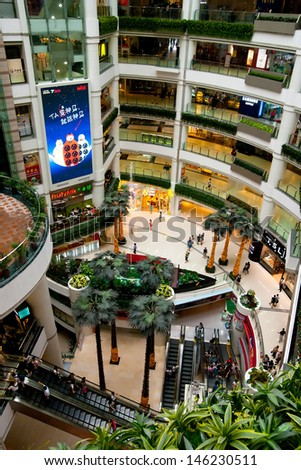 GUANGZHOU, CHINA - JUL 15: Grandview mall is a major International level luxurious shopping centre on Jul 15, 2013 in Guangzhou. Average daily traffic of more than 800,000