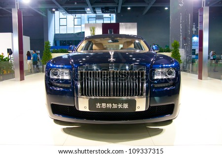 GUANGZHOU, CHINA - JUL 29: ROLLS ROYCE Ghost car on 2012 Guangzhou Imported Luxury Automobile Exhibition,on July 29, 2012 in Guangzhou China,This is a large international car exhibition - stock photo