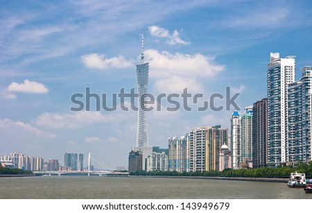 GUANGZHOU, CHINA - JUN 21. The Guangzhou Tower (600 m) on Jun. 21, 2013 in Guangzhou. It is a TV tower,The China's first tower. located at new city axis intersection - stock photo