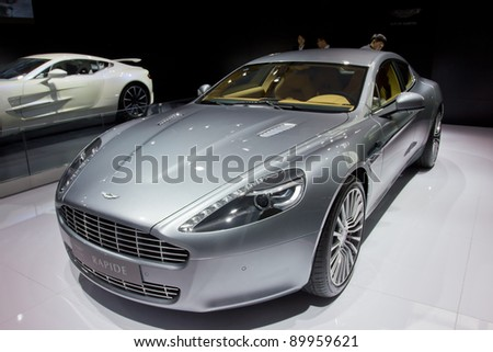 GUANGZHOU, CHINA - NOV 26: Aston Martin Rapide car on display at the 9th China international automobile exhibition. on November 26, 2011 in Guangzhou China.