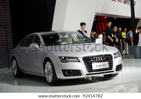 GUANGZHOU, CHINA - NOV. 26: Audi A7 car on display at the 9th China international automobile exhibition. on November 26, 2011 in Guangzhou China.