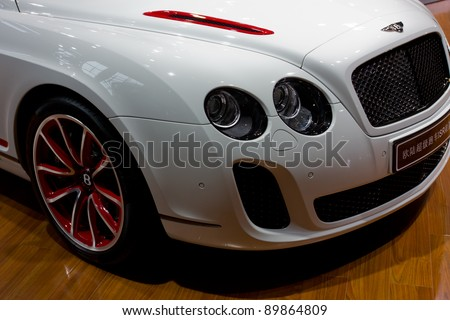 GUANGZHOU, CHINA - NOV 26: Bentley Continental SuperSport ISR car on display at the 9th China international automobile exhibition. on November 26, 2011 in Guangzhou China. - stock photo
