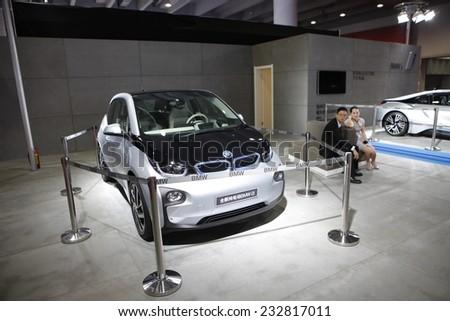 GUANGZHOU, CHINA - NOV. 22. 2014: BMW i3 electric vehicle on the 12th China International Automobile Exhibition in Guangzhou, Guangdong province. - stock photo