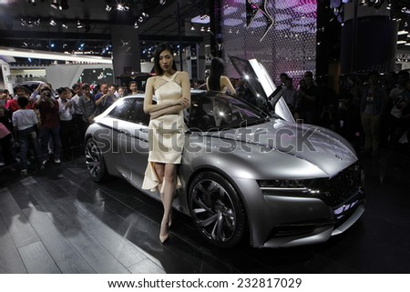 GUANGZHOU, CHINA - NOV. 22. 2014: DS stand during the 12th China International Automobile Exhibition in Guangzhou, Guangdong province. - stock photo