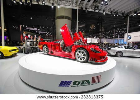 GUANGZHOU, CHINA - NOV. 22. 2014: GTA Saleen stand during the 12th China International Automobile Exhibition in Guangzhou, Guangdong province. - stock photo