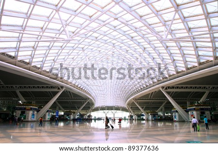 GUANGZHOU, CHINA - NOV 20: Guangzhou South Railway Station for high-speed trains on November 20, 2011 Is a large modern railway station,serves 200000 passengers per day. - stock photo
