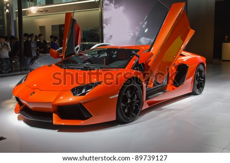 GUANGZHOU, CHINA - NOV 26:Lamborghini Murcielago Sports car on display at the 9th China international automobile exhibition. on November 26, 2011 in Guangzhou China.