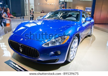 GUANGZHOU, CHINA - NOV 25: Maserati blue sport car on The 9th China(Guangzhou) International Automobile Exhibition. on November 25, 2011 in Guangzhou China. - stock photo