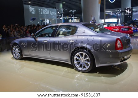 GUANGZHOU, CHINA - NOV 26: Maserati Quattroporte Sports car on display at the 9th China international automobile exhibition. on November 26, 2011 in Guangzhou China.