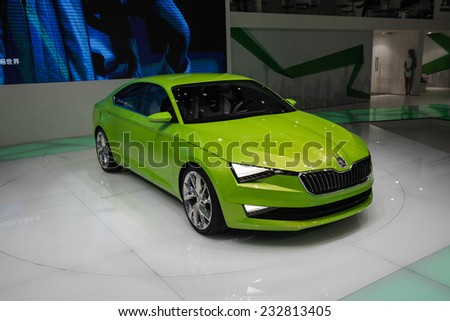 GUANGZHOU, CHINA - NOV. 20. 2014:New Skoda VisionC concept on the 12th China International Automobile Exhibition in Guangzhou, Guangdong province. - stock photo