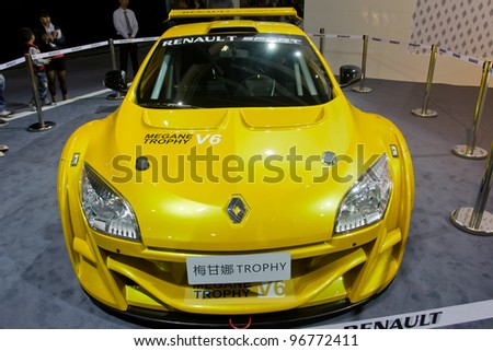 GUANGZHOU, CHINA - NOV 26: Renault Mei Ganna Trophy car on display at the 9th China international automobile exhibition. on November 26, 2011 in Guangzhou China. - stock photo