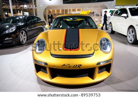 GUANGZHOU, CHINA - NOV 25: RUF Orange sport car on The 9th China(Guangzhou) International Automobile Exhibition. on November 25, 2011 in Guangzhou China.