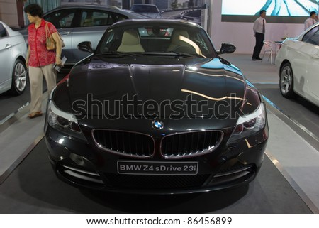GUANGZHOU, CHINA- OCT 2 BMW Z4 sports car on display at the Guangzhou Daily Baiyun International automobile exhibition on October 2, 2011 in Guangzhou, China.