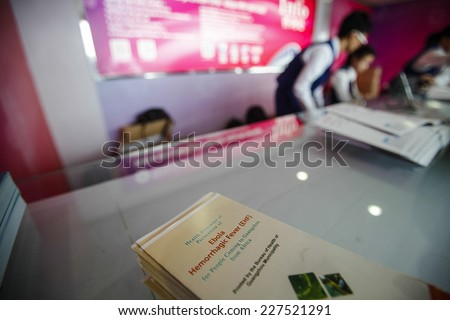 GUANGZHOU, CHINA - OCT. 30. 2014:Health warnings about the Ebola virus are displayed at the Canton Fair in Guangzhou, Guandong province, China.
