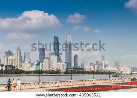 GUANGZHOU, CHINA - OCT 8.:Modern skyscrapers in Guangzhou on Oct 8, 2015. Guangzhou is one of the major economic cities in China - stock photo