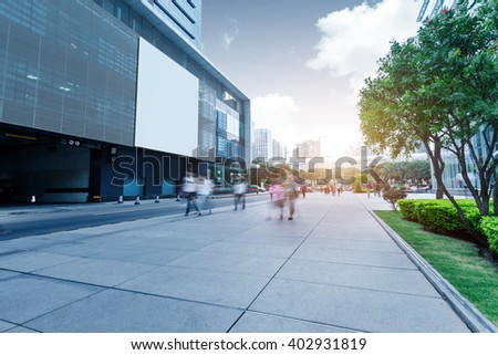 Guangzhou, China's high-rise buildings and street people - stock photo