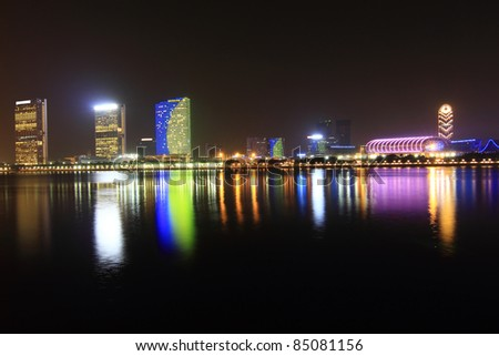 Guangzhou, China skyline at night