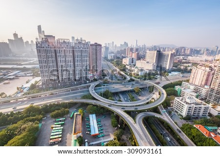 guangzhou interchange road, modern city highway background - stock photo