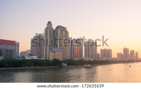 Guangzhou Pearl River sunset scenery in China