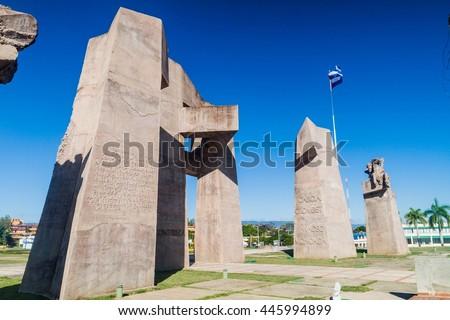 GUANTANAMO, CUBA - FEB 3, 2016: Military monument on the Plaza de la Revolucion (Revolution Square) in Guantanamo, Cuba - stock photo