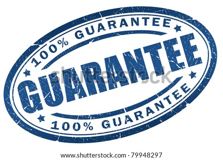 Guarantee blue stamp - stock photo