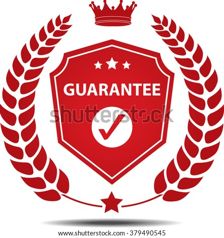 Guarantee, Label, Sticker or Icon Isolated on White Background. - stock photo