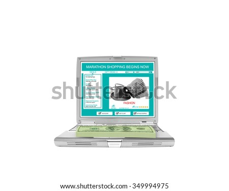 Guaranteed Shopping Experience One Hundred dollar Bills on-line shopping laptop isolated on white background