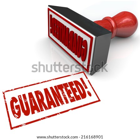 Guaranteed stamp and word in red ink to promise 100% satisfaction and product or service warranty to build confidence with customers - stock photo