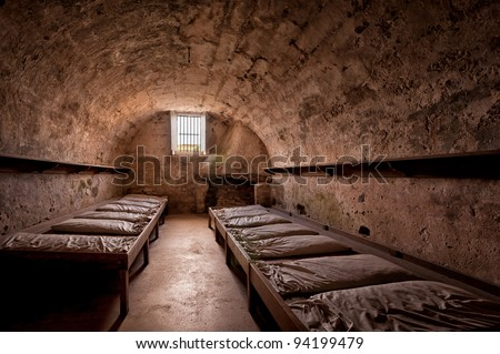Guard room at the Castillo de San Marcos National Monument in St. Augustine, Florida - stock photo