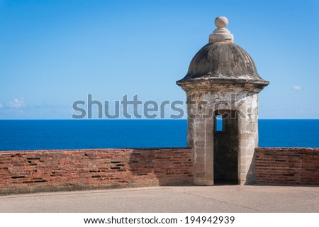 Guard station at the fort on the hill in Jan Juan, Puerto Rico - stock photo