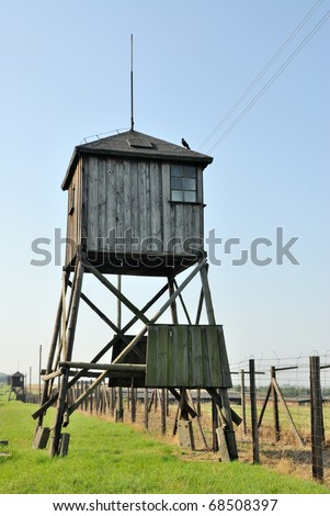 Guard towers in Majdanek german nazi concentration camp - stock photo
