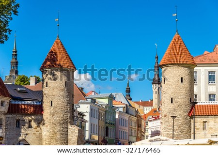 Guard towers of Viru Gate in Tallinn - Estonia - stock photo