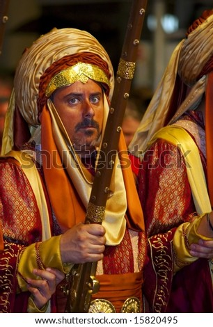 Guardamar,Spain -  July 26: 2008 Colorful costumes of the anual  Moors and Christians festival.