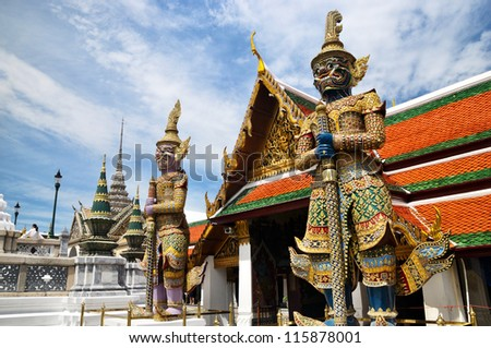 Guardian Demons in Grand Palace Thailand - stock photo