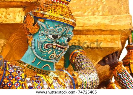 Guardian of Wat Phra Kaeo Temple, bangkok, Thailand. - stock photo